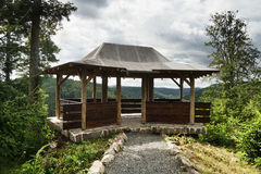 Wooden summer house with a view to valley Tepelske udoli Stock Photography