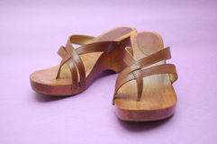 Wooden summer sandals Royalty Free Stock Image