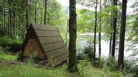 Wooden summerhouse by Synevir lake in Carpathian Mountains in Ukraine stock video