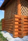 Wooden summerhouse wall corner Stock Photos