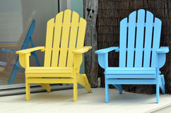 Sun Chairs. A wooden sun chairs in holiday home during summer vacation Stock Images