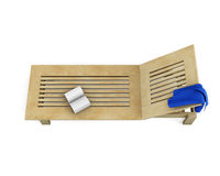 Wooden sun lounger with a towel and book on it. 3d. Royalty Free Stock Image