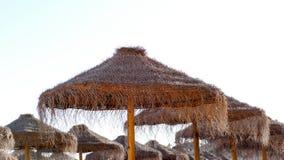 Wooden sun umbrellas Royalty Free Stock Photo