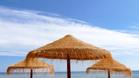 Wooden sun umbrellas Royalty Free Stock Photos