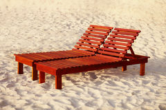 Wooden sunbed Royalty Free Stock Image