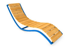 Wooden sunbed or Sun lounger isolated on white background. Wooden sunbed or Sun lounger from vacation isolated on white background Stock Photos