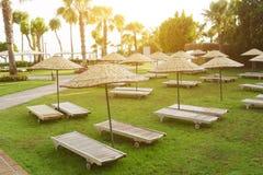 Wooden Sunbeds Stock Photos