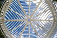 Wooden sunshade. Lattice design of a wooden sunshade or open gazebo roof Stock Photo
