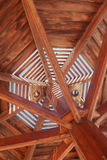 Through wooden sunshade see the sky close-up Stock Photos