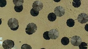Wooden sunshade umbrellas on a beach. Top view, aerial shoot stock video footage