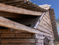 Wooden Support. Wooden bars supporting the roof of an old house Royalty Free Stock Images