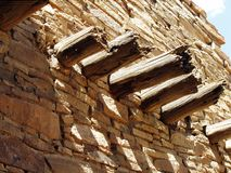 Wooden supports. Pueblo Indian ruins Royalty Free Stock Images