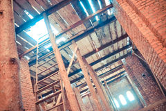 Wooden supports at the construction of building royalty free stock image