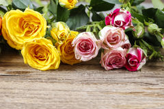 Wooden surface with copy space decorated with colorful roses Stock Photos