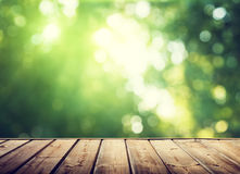 Wooden surface and forest Stock Images
