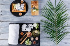 On a wooden surface the layout of boards with objects for massage, spa and aroma treatments and a palm branch. Royalty Free Stock Image