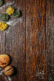 The wooden surface with macaroni and bread Royalty Free Stock Photography