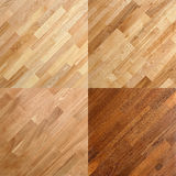 Wooden surface parquet floor plank backgrounds. Set of wooden parquet floor plank backgrounds including oak and pine royalty free stock photos