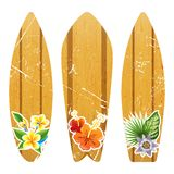 Wooden surfboards with floral prints Royalty Free Stock Photo
