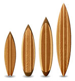 Wooden surfboards. Illustration of surfboards with wood texture Stock Photos