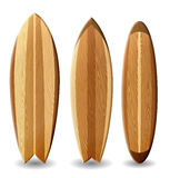 Wooden surfboards. Illustration of surfboards with wood texture Royalty Free Stock Image