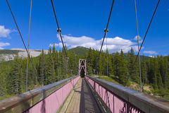 Wooden Suspension bridge Royalty Free Stock Images