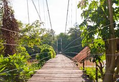 Wooden suspension bridge Stock Images