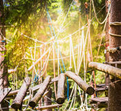 Wooden suspension bridge in climbing forest. In Germany royalty free stock image
