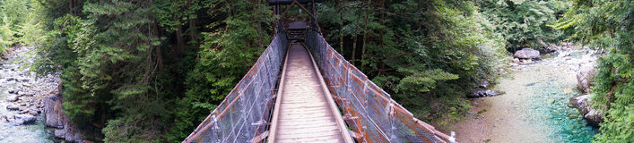 Wooden suspension bridge in the forest panorama Royalty Free Stock Photos