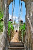 Wooden suspension bridge to paradise Royalty Free Stock Photos