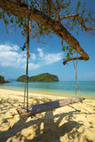 Wooden swing and andaman sea Royalty Free Stock Photos