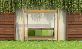 Wooden swing in a garden. Wooden swing with green cushions in a garden - 3D rendering Royalty Free Stock Images