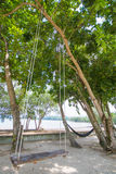 Wooden swing and hammock for relaxation Stock Photography