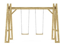 Wooden swing isolated Stock Image