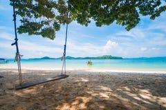 Wooden swing on Naka Noi island in Phuket, Thailand Stock Image