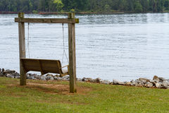 Wooden Swing Out Along Lake Murray Stock Images