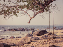 Wooden swing on tree at Khao Lak beach in vintage style color Royalty Free Stock Photos