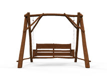 Wooden Swing  on White Background. 3d render Royalty Free Stock Image