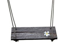 Wooden swing with white Plumeria Royalty Free Stock Photography