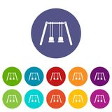 Wooden swings hanging on ropes set icons Stock Photos