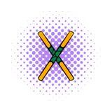 Wooden sword bokken  icon, comics style Stock Images