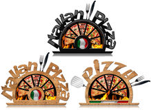 Wooden Symbol of Italian Pizza with Flames Stock Image
