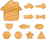 Wooden symbols Royalty Free Stock Photography