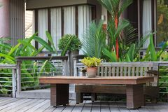Wooden tabel and chair set furniture. Wooden tabel and chair set furniture in the garden, at luxury resort Stock Photography