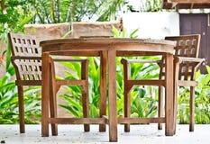 Wooden tabel set Stock Images