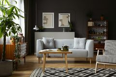 Wooden table and armchair on patterned carpet in retro flat interior with grey sofa and posters. Real photo stock photos