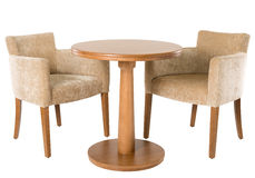 Wooden table and armchairs Stock Photo