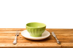 Wooden table arrangement Royalty Free Stock Photography