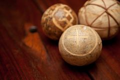 Wooden Table and balls Royalty Free Stock Photography
