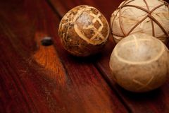 Wooden Table and balls Stock Image